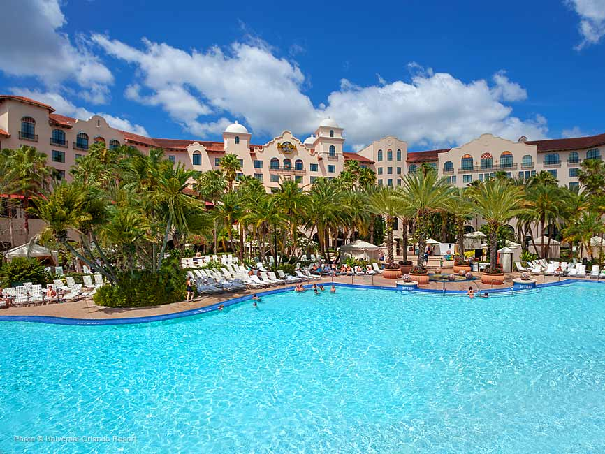 La enorme piscina turquesa con el hotel Hard Rock de fondo