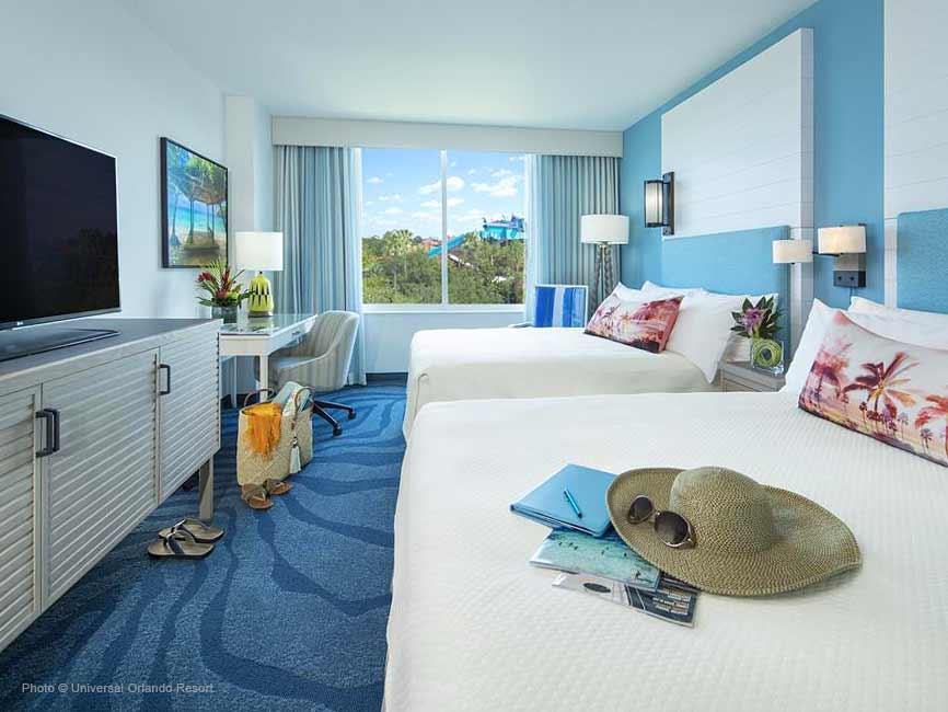 Habitación con dos camas queen con pared de color celeste y alfombra azul