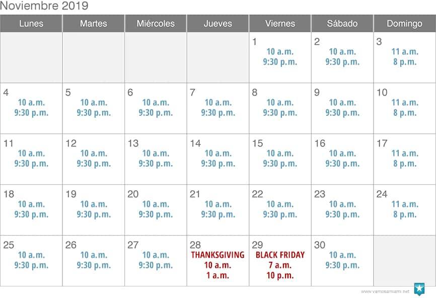 Sawgrass Mills - Horarios noviembre y diciembre 2019