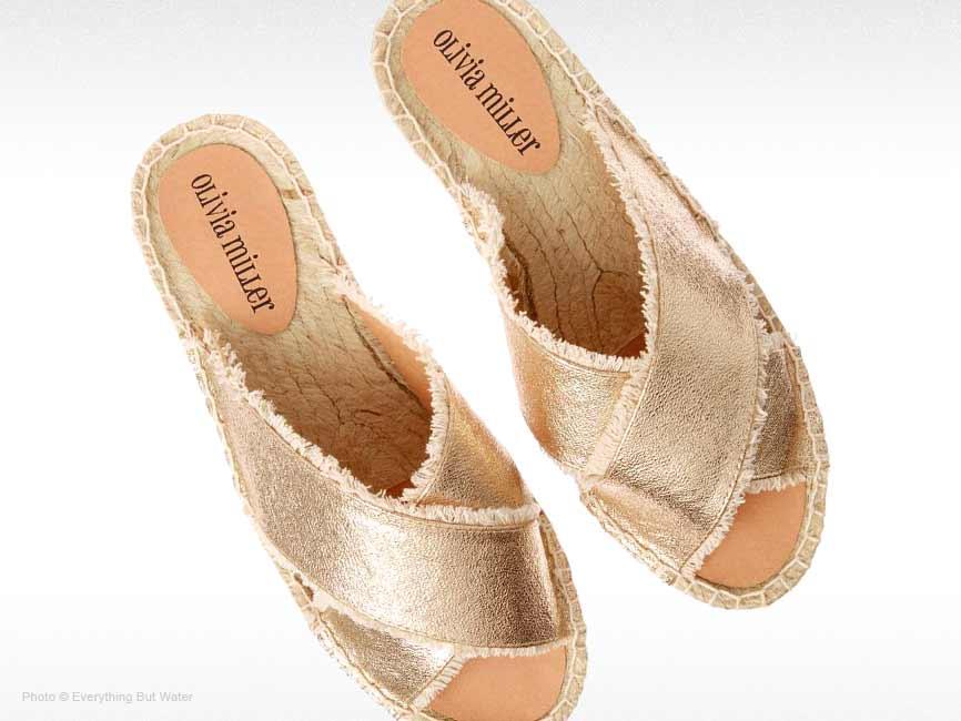 Fringe Metallic Slide Sandals